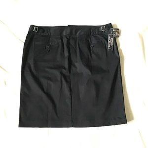 Pencil skirt black cotton front pocket button down